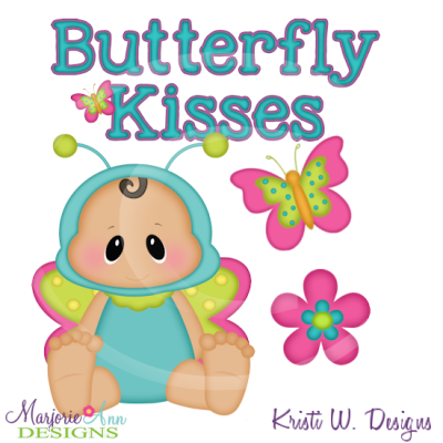 Butterfly Kisses Cutting Files Includes Clipart