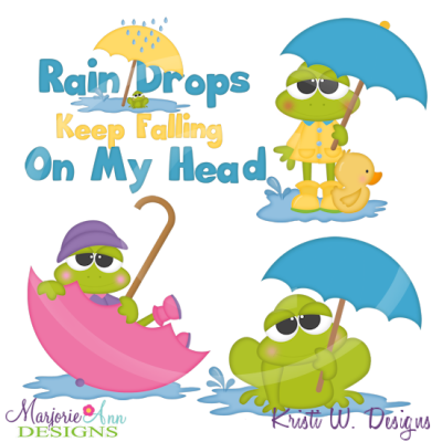 April Shower Frogs Cutting Files-Includes Clipart