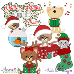 Santa Claws SVG Cutting Files + Clipart