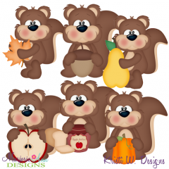 Fall Fun Squirrels SVG Cutting Files Includes Clipart