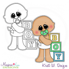 Baby Boy & Blocks Exclusive Digital Stamp + Clipart