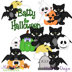 Batty For Halloween SVG Cutting Files + Clipart