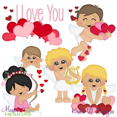Valentine Cupids SVG Cutting Files Includes Clipart