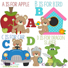 Patches The Bear Alphabet A-D SVG Cutting Files + Clipart