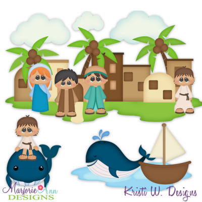 Jonah & The Whale SVG Cutting Files + Clipart