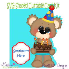 Birthday Bear & Cake~Shaped SVG/MTC Card Kit/Cutting File