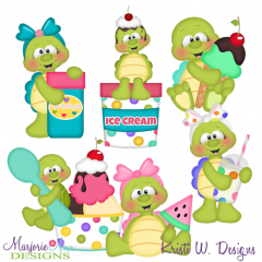 Turtles & Ice Cream SVG Cutting Files + Clipart