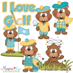 Golfing Gopher SVG Cutting Files + Clipart
