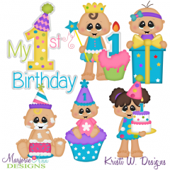 Cake Smash Birthday Girl SVG Cutting Files Includes Clipart