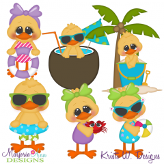 Ducks On The Beach SVG Cutting Files + Clipart