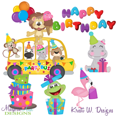 Animal Party Bus Exclusive SVG Cutting Files+Clipart