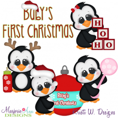 Baby's 1st Christmas Penguins SVG Cutting Files Includes Clipart