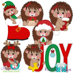 Christmas Hedgies SVG Cutting Files Includes Clipart