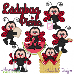 Ladybug Picnic SVG Cutting Files Includes Clipart