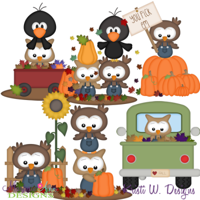 Autumn Owls SVG Cutting Files + Clipart