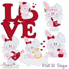 Cupid Bunnies SVG Cutting Files + Clipart