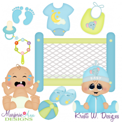 Sweet Baby Boy SVG Cutting Files + Clipart