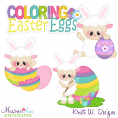 Coloring Easter Eggs Cutting Files-Includes Clipart