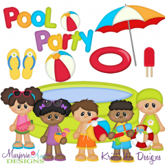 Pool Party SVG Cutting Files + Clipart