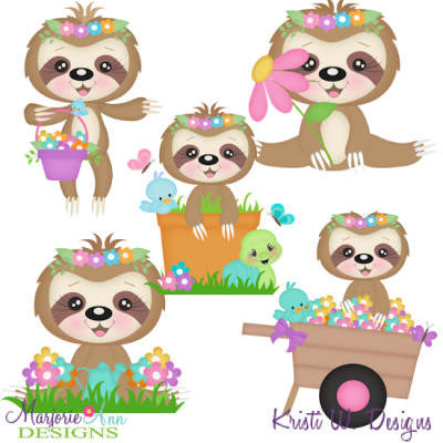 Spring Sloths SVG Cutting Files Includes Clipart - $3.25 ...