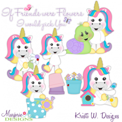 If Friends Were Flowers-Unicorns SVG Cutting Files + Clipart
