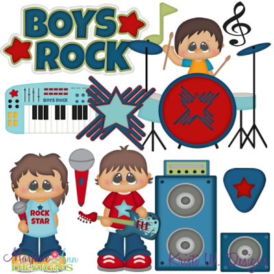 Boys Rock SVG Cutting Files + Clipart