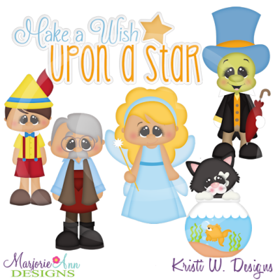 Wish Upon A Star SVG Cutting Files Includes Clipart