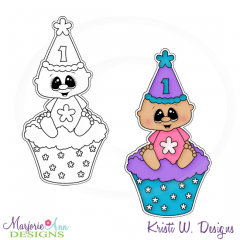 Baby Girl In Cupcake Digital Stamp + Clipart