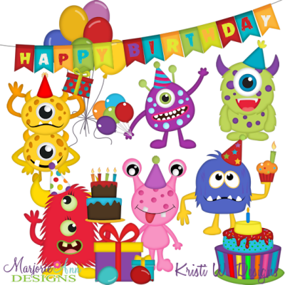 Birthday Monsters SVG Cutting Files + Clipart