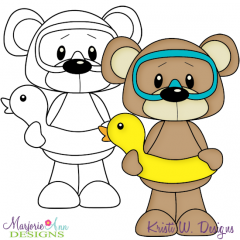 Beach Bear 3 Exclusive Digital Stamp + Clipart