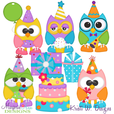 Birthday Owls SVG Cutting Files + Clipart