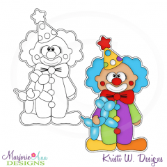 Circus Clown Digital Stamp + Clipart