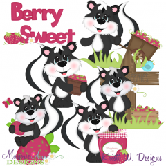 So Berry Sweet Skunks Exclusive SVG Cutting Files + Clipart