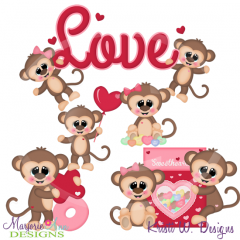 Monkey Love Cutting Files-Includes Clipart