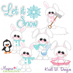 Snow Bunnies TWO SVG Cutting Files Includes Clipart