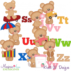 Alphabet Bears S-Z SVG Cutting Files Includes Clipart