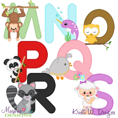 Animal Alphabet M-S SVG Cutting Files Includes Clipart