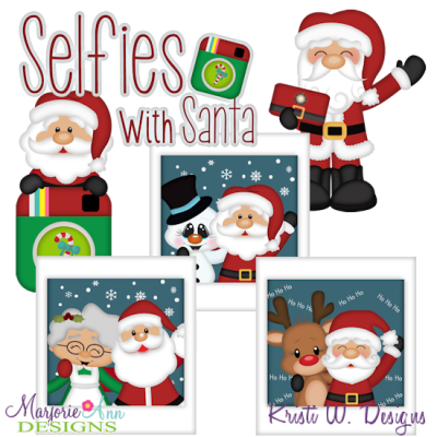 Selfies With Santa SVG Cutting Files + Clipart