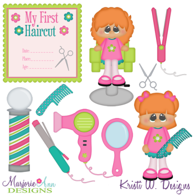 My First Haircut-Girl SVG Cutting Files + Clipart