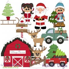 Winter Village~Tree Farm SVG Cutting Files + Clipart