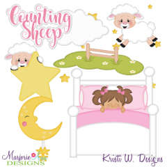 Counting Sheep-Girl Exclusive SVG Cutting Files + Clipart