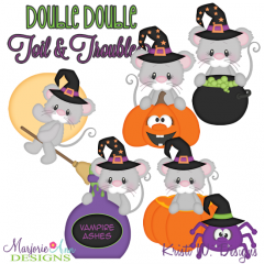 Double Double Toil & Trouble Mice SVG Cutting Files+Clipart