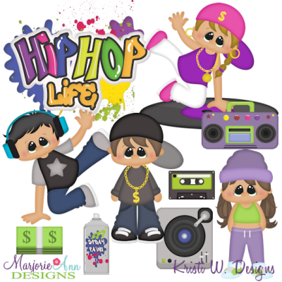 Hip Hop Kids SVG Cutting Files + Clipart