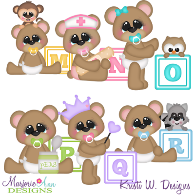 Baby Alphabet Bears M - R SVG Cutting Files Includes Clipart