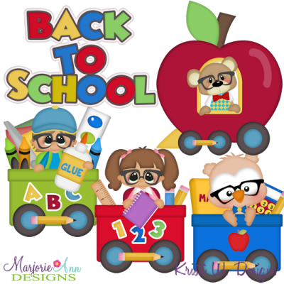School Train SVG Cutting Files Includes Clipart