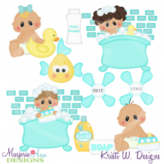 Squeaky Clean Babies SVG Cutting Files Includes Clipart