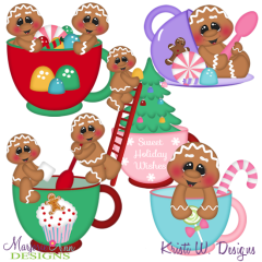 Christmas Tea Gingers SVG Cutting Files Includes Clipart