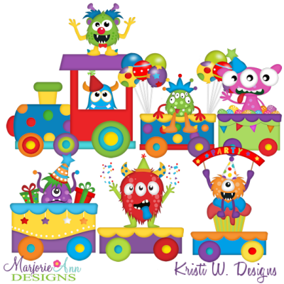 Monster Party Train SVG Cutting Files Includes Clipart