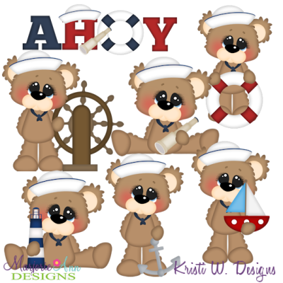 Bubbles The Bear Loves Sailing SVG Cutting Files + Clipart