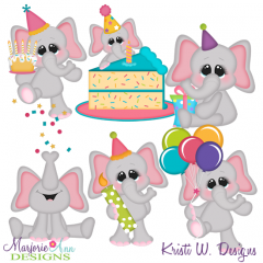 Birthday Elephants SVG Cutting Files + Clipart